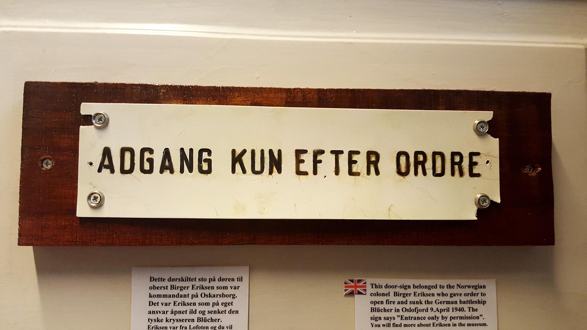 Birger Eriksens dørskilt