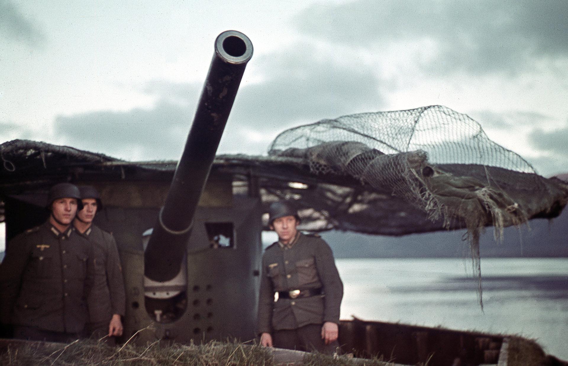 Tysk Marineküsten- artilleri med gule ørner.